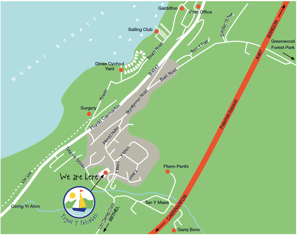 Location Map of Ysgol y Felinheli School